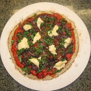 Cauliflower Crust Pizza with Caramelized Onions, Kale & Mozzarella (Vegan & Gluten Free)